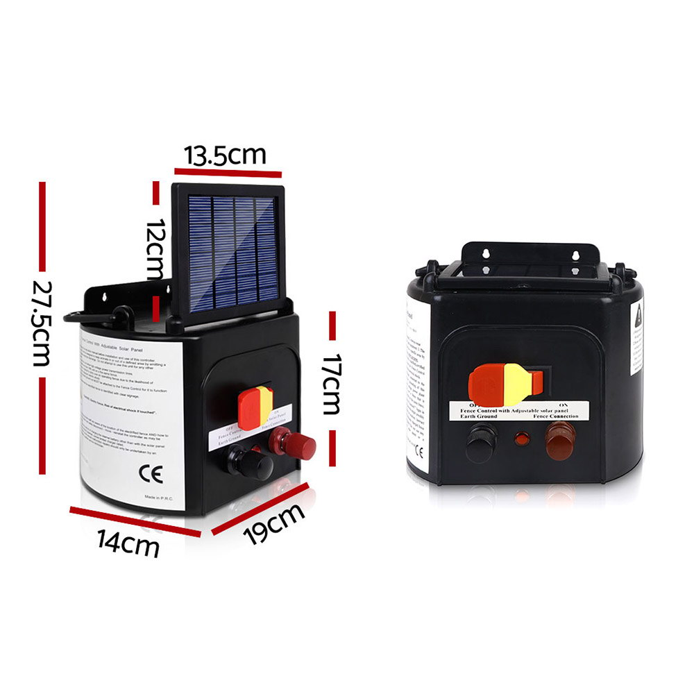 New Giantz 3km Solar Electric Fence Charger Energiser + Fast Free Shipping
