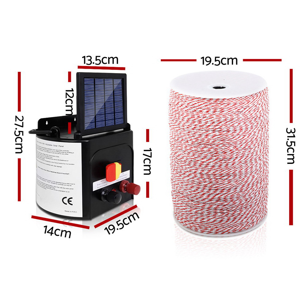 [Brand New] Giantz 3KM Solar Electric Fence Energiser Energizer 0.1J + 2000M Poly Fencing Wire Tape Fast Free Shipping Australia Wide 2020