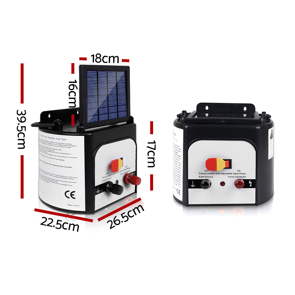 🥇 New Giantz 8km Solar Power Electric Fence Charger Energiser 0.3J White ⭐+ Fast Free Shipping 🚀