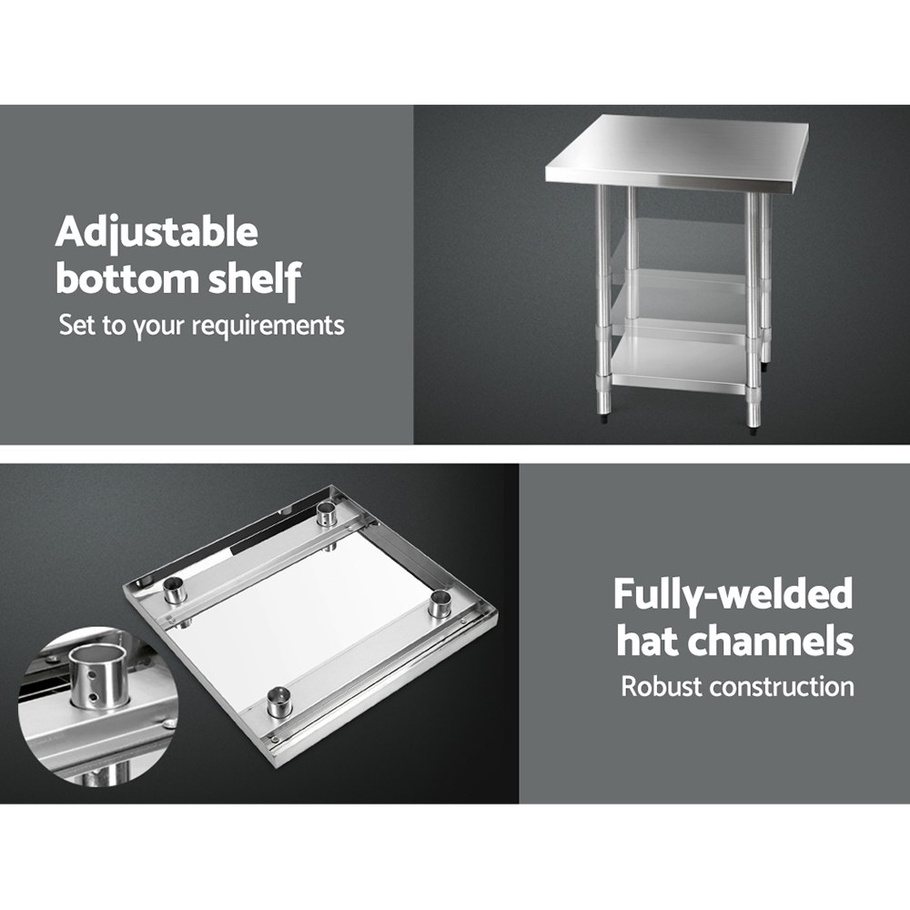 New Cefito 762 x 762mm Commercial Stainless Steel Kitchen Bench with 4pcs Castor Wheels + Fast Free Shipping