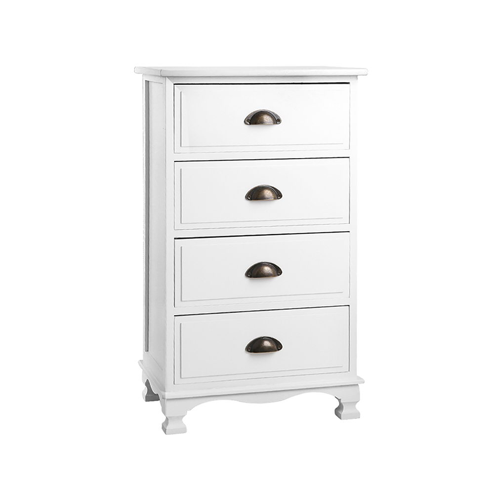 Artiss Vintage Bedside Table Chest 4 Drawers Storage Cabinet Nightstand White