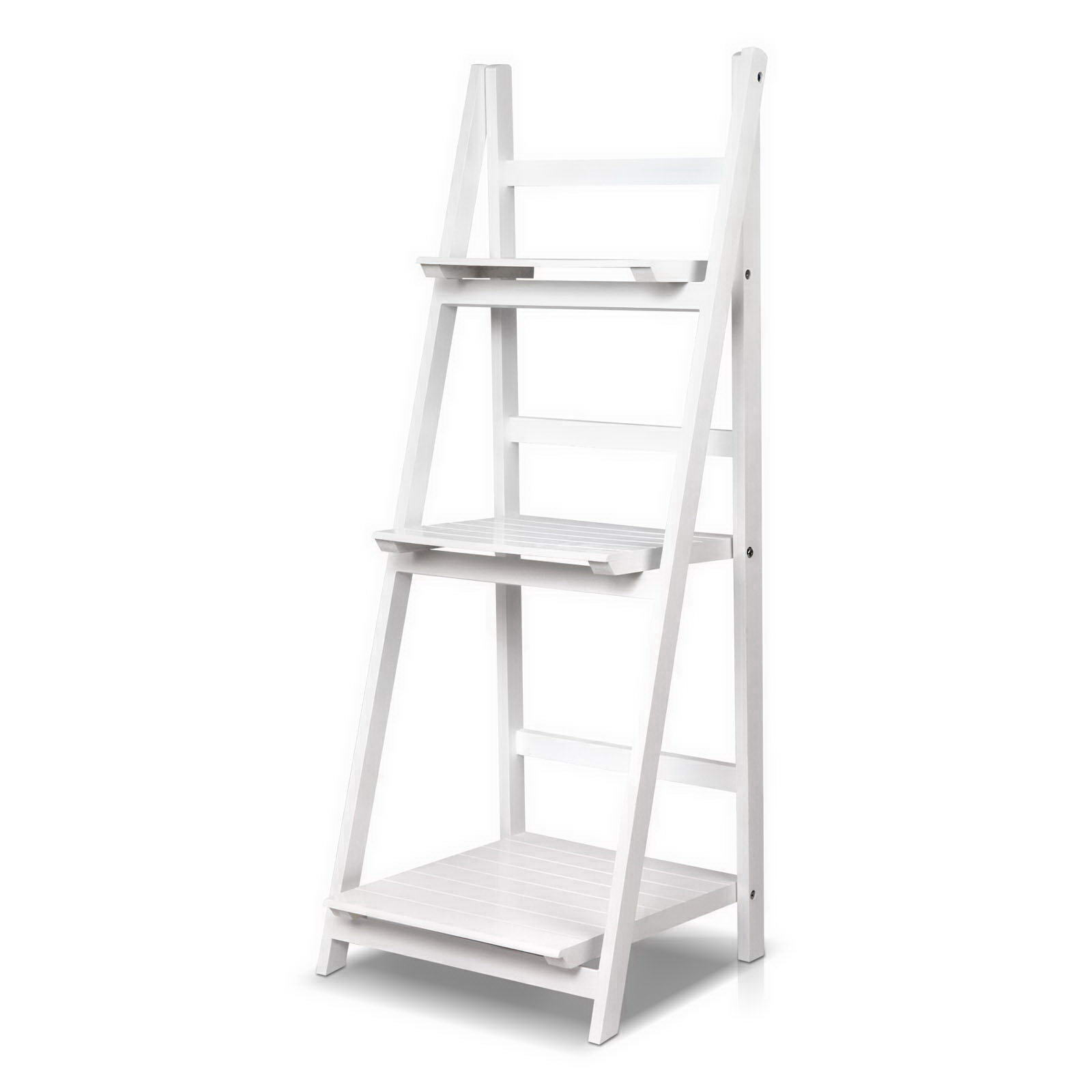 Brand New Artiss Display Shelf 3 Tier Wooden Ladder Stand Storage Book Shelves Rack White Fast Free Shipping