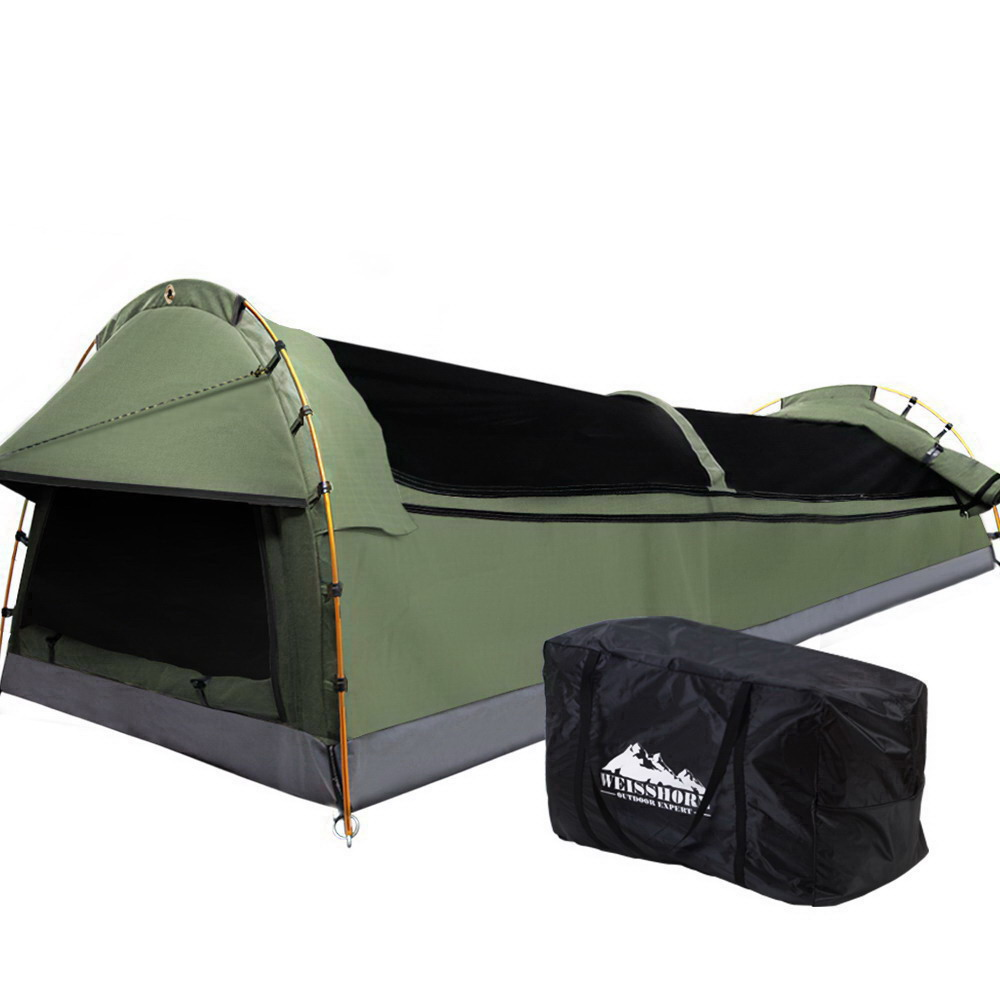 🥇 New Weisshorn Double Swag Camping Swags Canvas Tent Deluxe Celadon With Mattress ⭐+ Fast Free Shipping 🚀