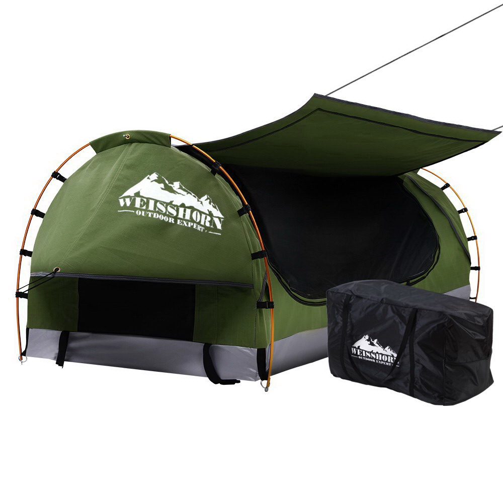 🥇 New Weisshorn Swag King Single Camping Swags Canvas Free Standing Dome Tent Celadon with 7CM Mattress ⭐+ Fast Free Shipping 🚀