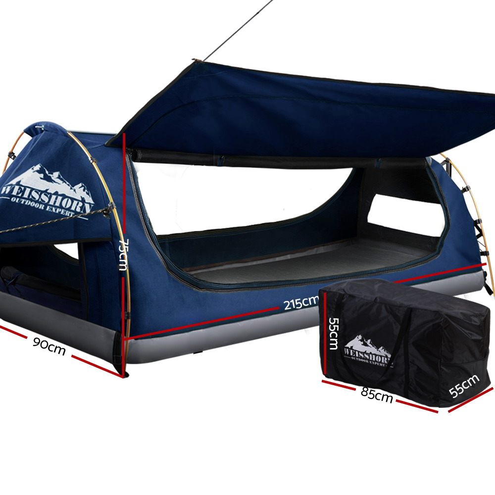 🥇 New Weisshorn Swag King Single Camping Swags Canvas Free Standing Dome Tent Dark Blue with 7CM Mattress ⭐+ Fast Free Shipping 🚀