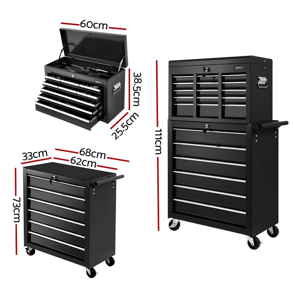 Brand New Giantz 15 Drawers Tool Box Chest Trolley Cabinet Garage Storage Boxes Organizer Black Fast Free Shipping