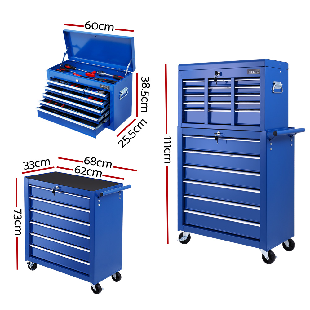 Brand New Giantz 15 Drawers Tool Box Chest Trolley Cabinet Garage Storage Boxes Organizer Blue Fast Free Shipping