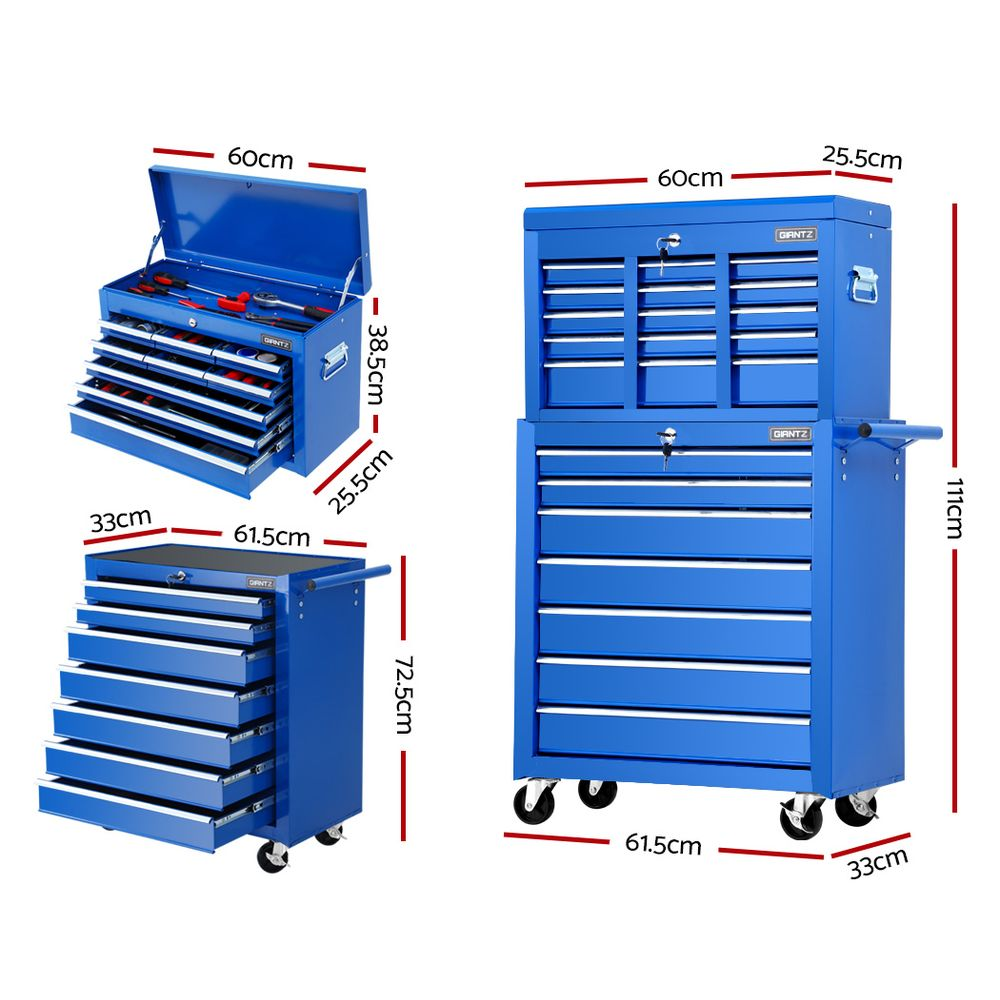 Tool Chest and Trolley Box Cabinet 16 Drawers Cart Garage Storage Blue by Giantz