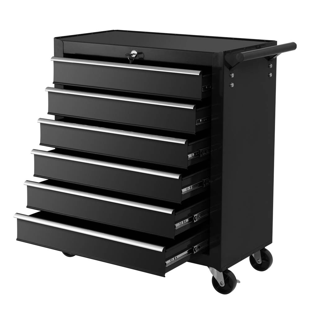 Giantz Tool Box Trolley Chest Cabinet 6 Drawers Cart Garage Toolbox Set Black