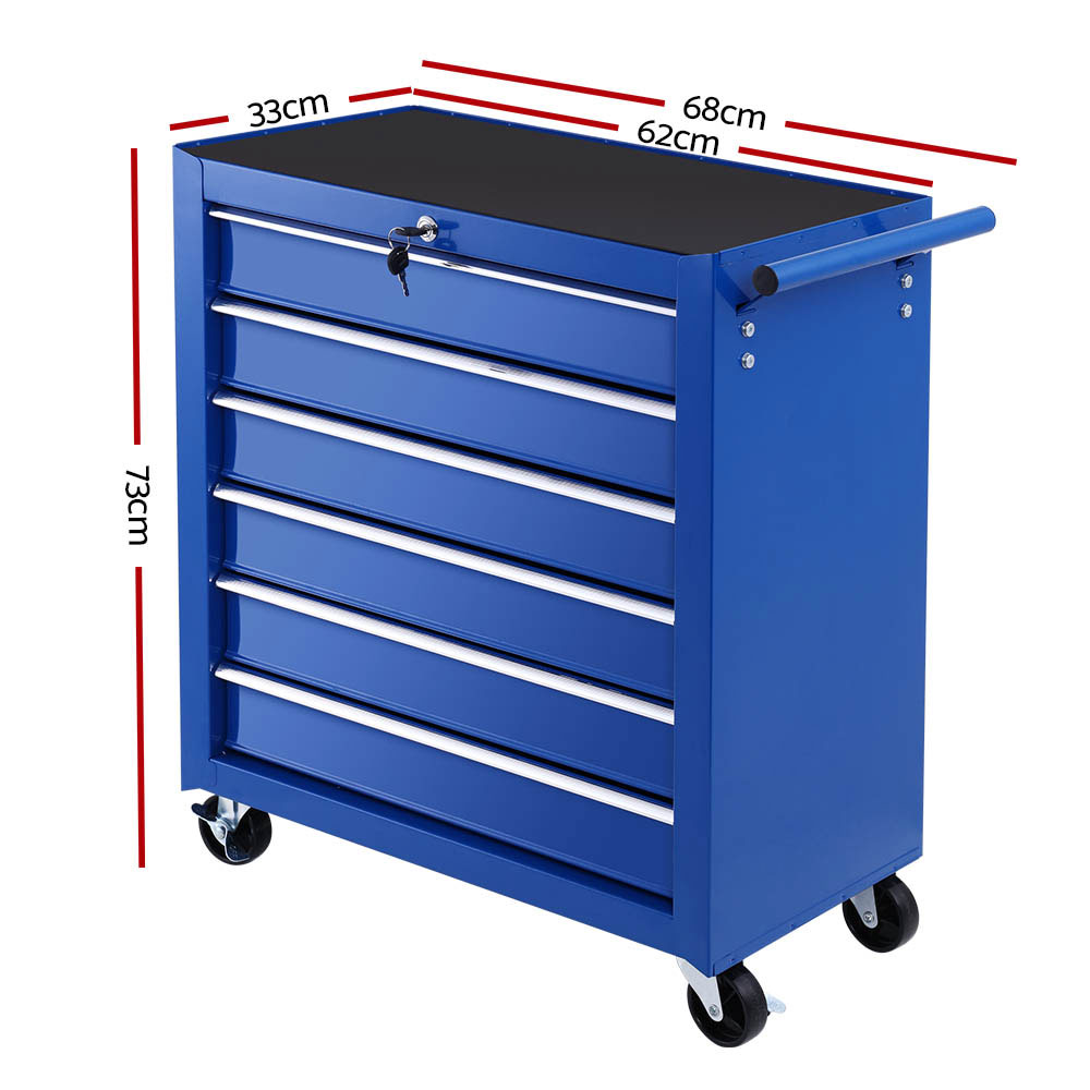 Tool Box Trolley Chest Cabinet 6 Drawers Cart Garage Toolbox Set Blue