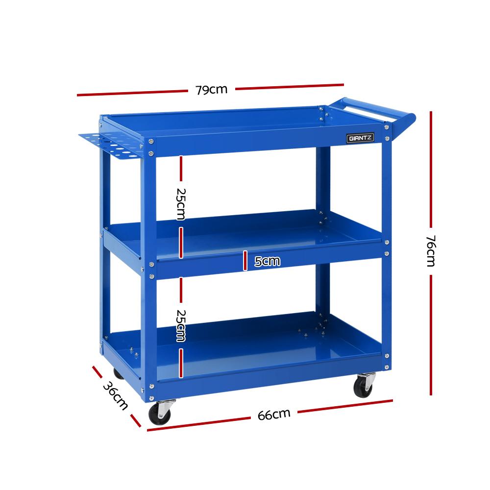 Giantz Tool Cart 3 Tier Parts Steel Trolley Mechanic Storage Organizer Blue