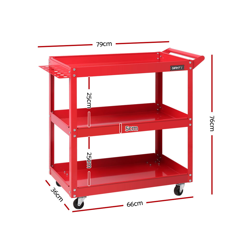 Tool Cart 3 Tier Parts Steel Trolley Mechanic Storage Organizer Red (TB-CART-3L-RD )