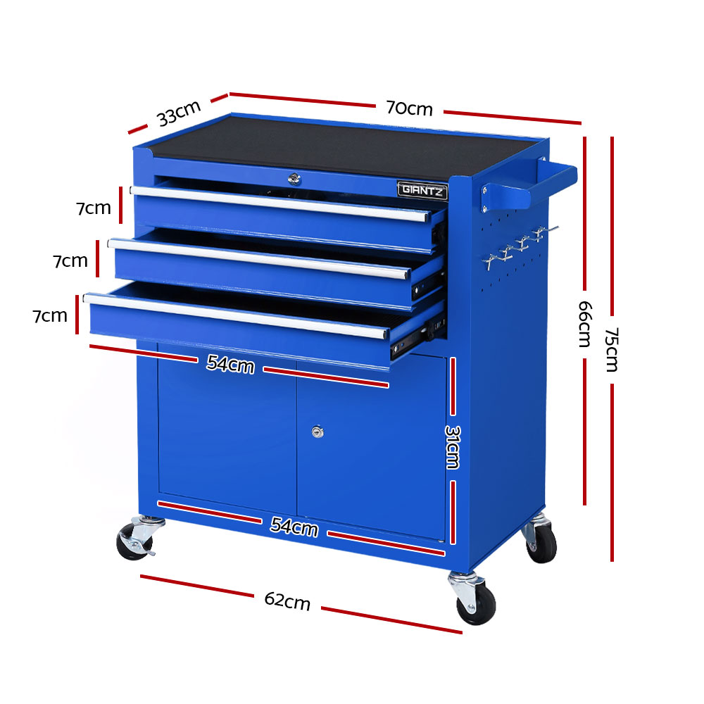 Tool Box Chest Cabinet Trolley Cart Storage Drawers Blue (TB-JS5003C-DOOR-BL )