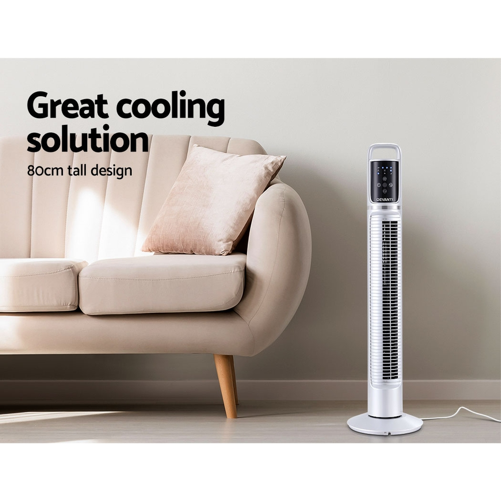 Brand New 80cm 32″ Tower Fan Bladeless Fans Oscillating W/Remote Timer White Fast Free Shipping