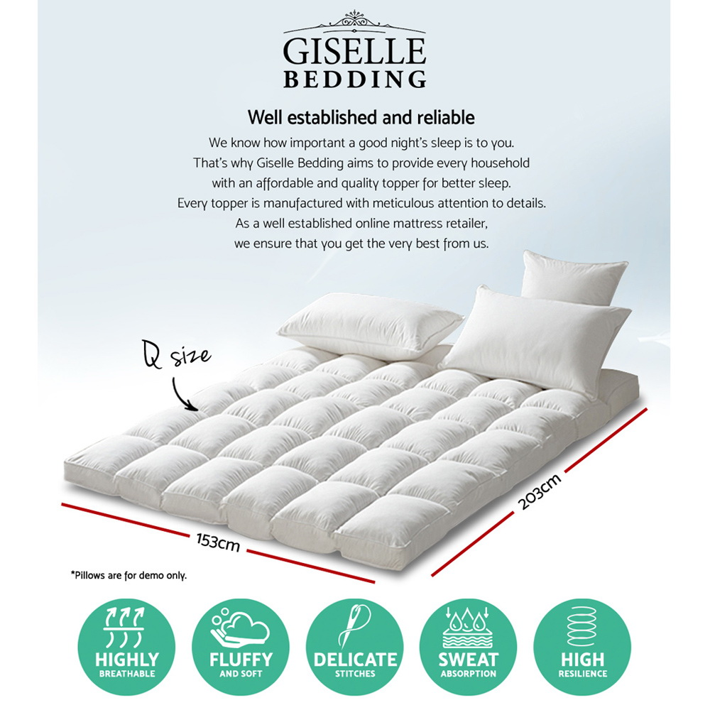 New Giselle Queen Mattress Topper Pillowtop 1000GSM Microfibre Filling Protector + Fast Free Shipping