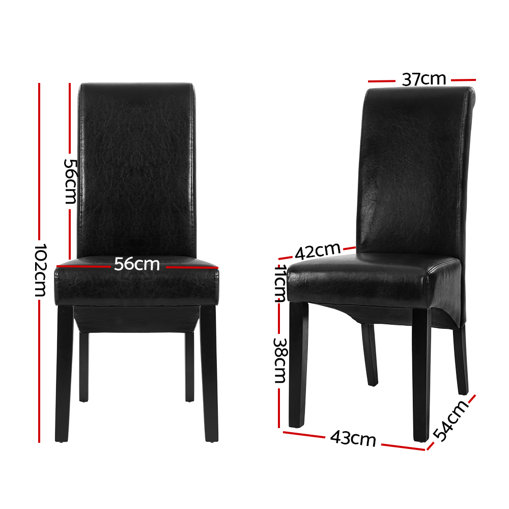 Artiss 2x Dining Chairs French Provincial Kitchen Cafe PU Leather Padded High Back Pine Wood Black