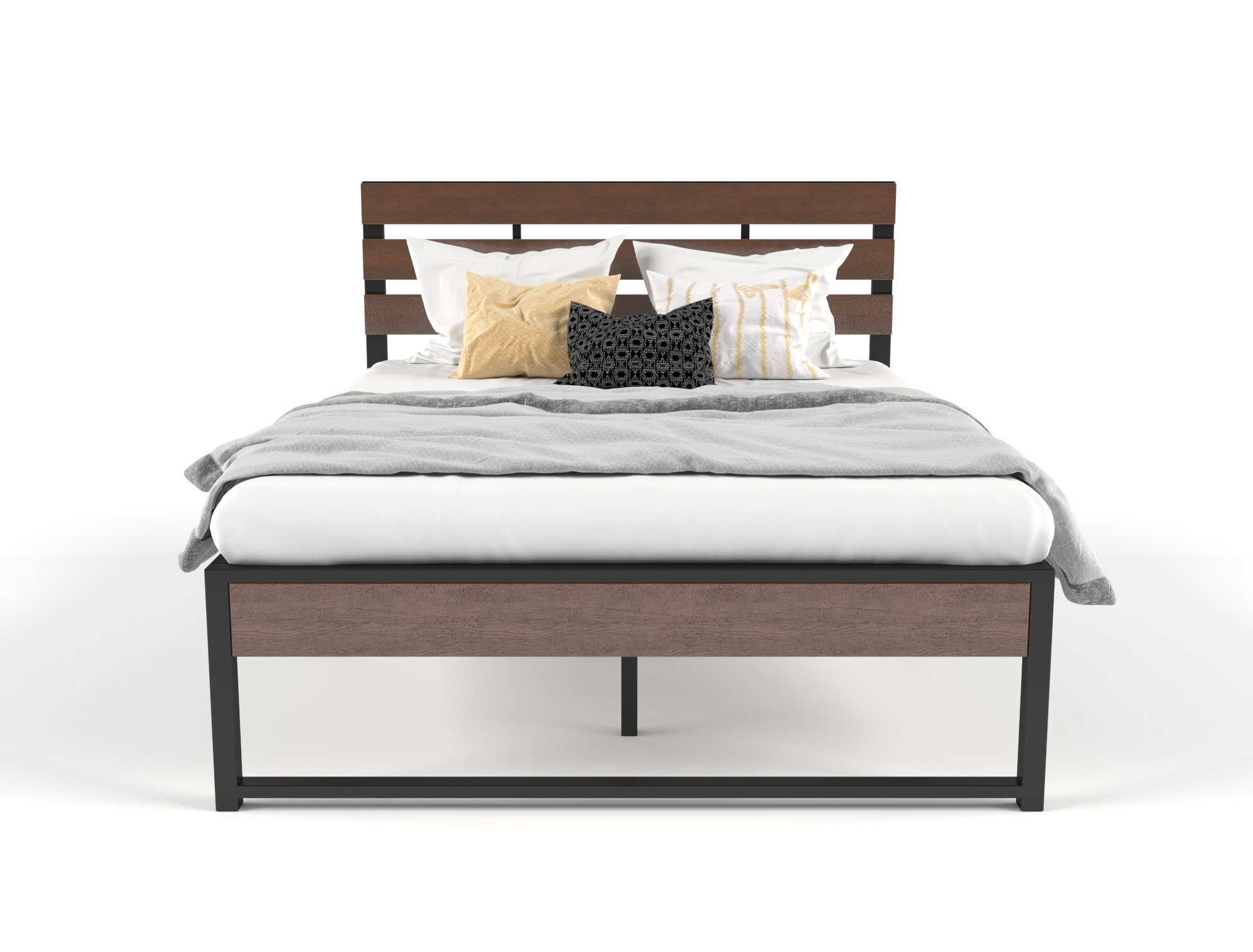 Ora Wooden and Metal Bed Frame Queen