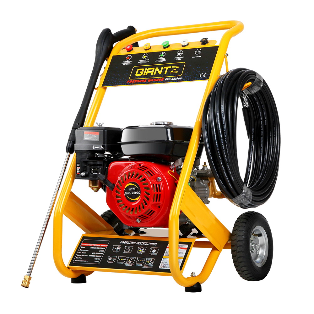 Giantz 4800PSI 8HP 20M Petrol High Pressure Cleaner Washer Water Jet Hose Gurney