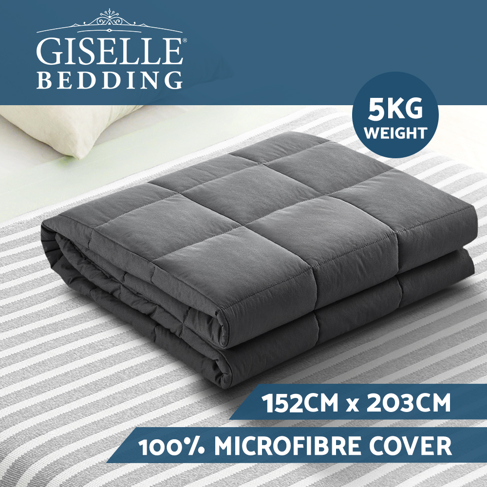 Brand New Weighted Blanket Adult 5KG Heavy Gravity Blankets Microfibre Cover Calming Relax Anxiety Relief Grey Fast Free Shipping