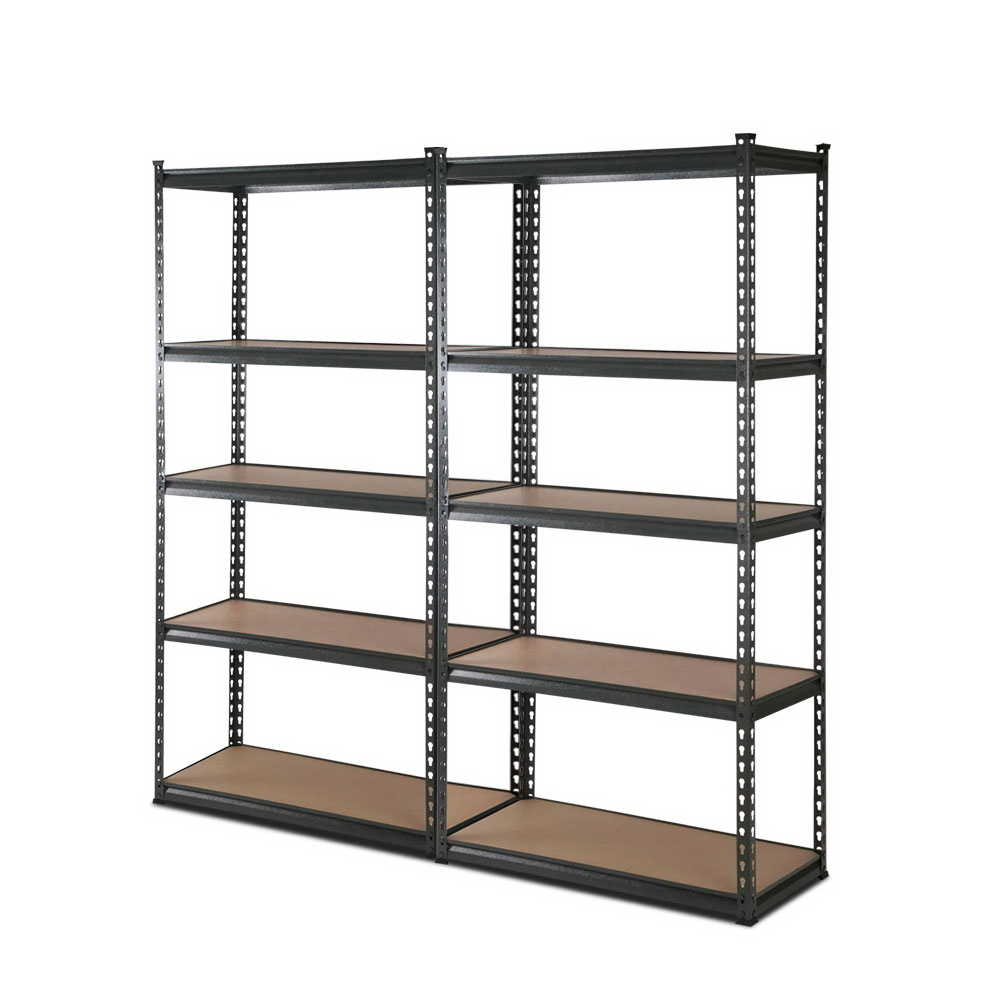 🥇 New 2×0.9M 5-Shelves Steel Warehouse Shelving Racking Garage Storage Rack Grey ⭐+ Fast Free Shipping 🚀