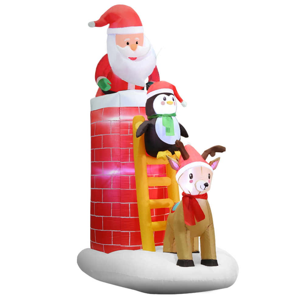 Jingle Jollys 2.1M Christmas Inflatable Santa on Chimney Decorations Outdoor LED