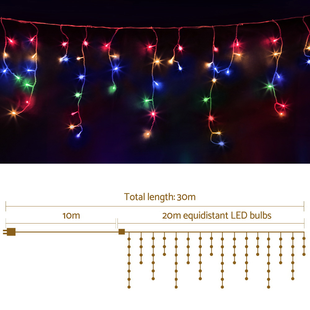 [Brand New] Jingle Jollys 800 LED Christmas Icicle Lights Mutlicolour Fast Free Shipping Australia Wide 2020