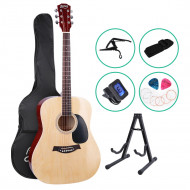 ALPHA 41 Inch Wooden Acoustic Guitar with Accessories set Natural Wood